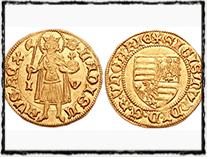 Zlatá uherská mince Zikmunda Lucemburského. Vpravo je Zikmundův erb, nalevo poté vyobrazení sv. Ladislava, patrona Uher.