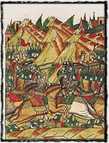 Bitva na Kosově poli, která výrazně ovlivnila dějiny celého Balkánu (ruská miniatura z 16. století).