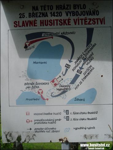 Sudoměř – hráz mezi rybníky Markovec a Škaredý, místo bitvy