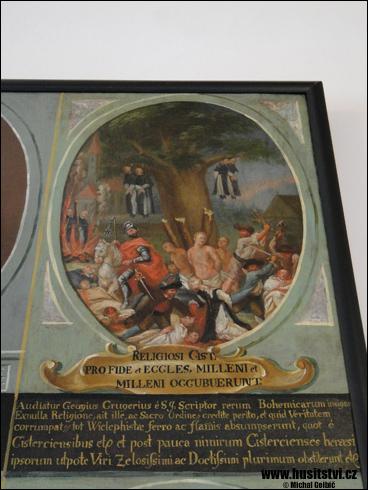 Dobytí kláštera Zlatá Koruna husity - obraz v klášteře Zlatá Koruna