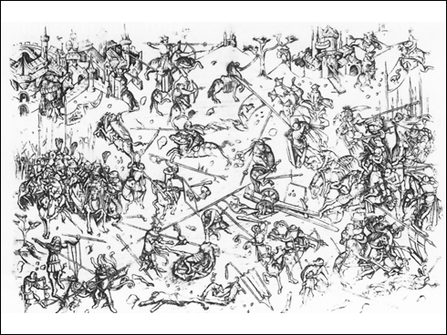 Bitva u Hiltersriedu 1433, mědiryt z 1. pol. 15. stol.