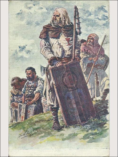 Dopisnice - Husitští bojovníci, za mše svaté v Táboře