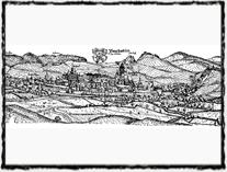 Nejstarší vyobrazení Prachatic. Rytina Jana Willenberga z počátku 17. století.