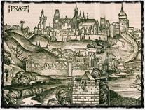 Nejstarší známé vyobrazení Prahy (1493). Dřevořez z Schedelovy Knihy kronik (Liber chronicarum). copyright http://prazskychytrak.cz