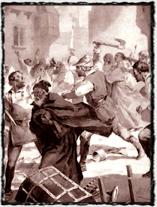 Bouře proti Židům v roce 1389. Kresba Jana Gotha. copyright http://malotridka.wz.cz