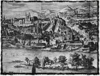 Staré Město pražské kolem roku 1600. Zdroj: Národní muzeum