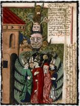 Rozmařilí představitelé církve ve spárech Antikrista. Jenský kodex (počátek 16. století). copyright http://36.media.tumblr.com