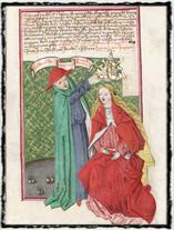 Symbolické vyobrazení. Nevěstka přijímá papežskou korunu. Jenský kodex (počátek 16. století). copyright http://www.nm.czg