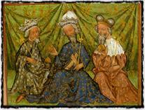 Zleva: Václav IV., Karel IV. a markrabě Jošt. Olomoucká právní kniha (cca 1430). copyright http://g.denik.cz