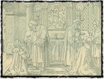 Přijímání podobojí dle vyobrazení z Husovy Postilly (vydání z roku 1564). copyright http://tyfoza.no-ip.com