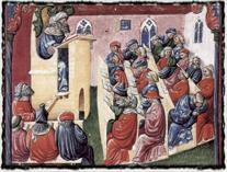 Vyučování na středověká univerzitě (druhá polovina 14. století). copyright http://www.studentpoint.cz