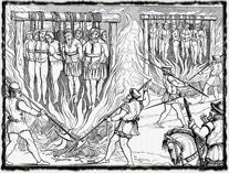 Upalování anglických lollardů podle vyobrazení z 16. století. copyright http://www.eresie.it
