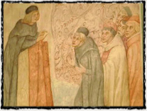 Hus káže lidu. Detail vyobrazení z interiéru Betlémské kaple. copyright http://img.ct24.cz