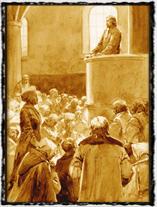 Takto si Husova kázání v Betlémě představoval J. Goth. copyright http://www.os-obroda.cz