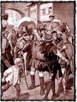 Němečtí mistři a studenti za posměšků Pražanů opuštějí město v květnu 1409. copyright http://www.svornost.com