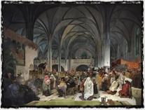 Slovanská epopej - Kázání Mistra Jana Husa v kapli Betlémské (Alfons Mucha, 1916). copyright http://www.zlate-mince.cz