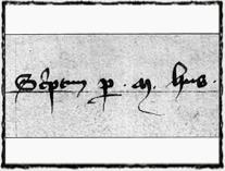 Husův podpis z dob jeho působení na univerzitě. copyright http://forum.cuni.cz