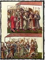 Zikmund s chotí Barborou Cellskou na koncilu v Kostnici. Vyobrazení z první poloviny 15. století. Copyright https://upload.wikimedia.org