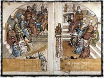 Zasedání středověkého církevního koncilu. Dobové vyobrazení