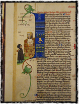 Nejstarší vyobrazení Husova upálení z Martinické bible (druhá čtvrtina 15. století). Copyright https://upload.wikimedia.org