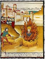 Hus v plamenech, obraz ze Spišské kroniky (1485). Copyright https://upload.wikimedia.org