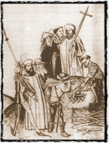 Upálení Jeronýma Pražského dle kroniky Ulricha Richenthala (1464).