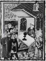 Přijímání pod obojí dle anonymního obrazu z 15. století. Copyright https://upload.wikimedia.org