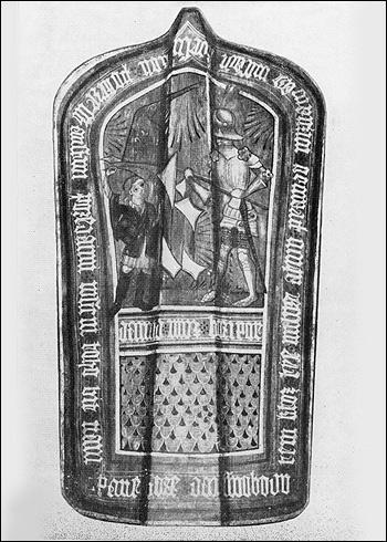 Pavéza s obrazem Davida a Goliáše