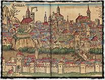 Veduta města Basileje z r. 1493 v Norimberské kronice, dřevořez (zdroj: Wikipedie).