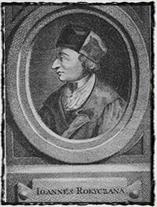 Portrét Jana Rokycany jako husitského biskupa (mědirytina Jana Balzera, zdroj: Wikipedie).