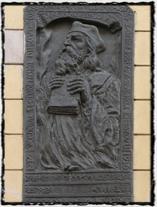 Jeronýmova pamětní deska s reliéfem z Řeznické ulice na Novém Městě pražském (dům čp. 672).