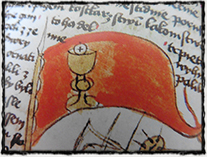 Symbol kalicha na korouhvi (iluminace z manuskriptu - krátce po r. 1460)