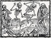 Tanec smrti jako dobová reakce na morové epidemie (Norimberská kronika, sklonek 15. století)
