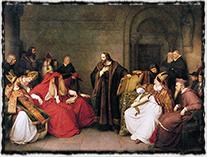 Kauza Husova trvala dlouhých pět let, začala v Praze a skončila v daleké Kostnici (Hus při slyšení s kostnickými kardinály, malba z 19. století)