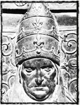 Papež Martin V., jeden z nejvlivnějších odpůrců husitů v Evropě (detail papežova náhrobku)