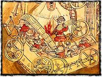 Vozová hradba husitů (nákres neznámého autora z 15. století)