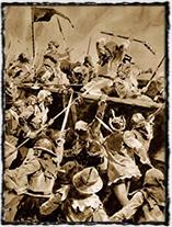 Boj o vozovou hradbu (kresba Jan Goth)