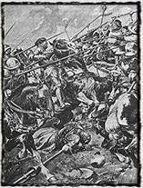 Útok rytířské jízdy na husitskou vozovou hradbu (obraz V. Černý)