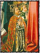 Král Albrecht a jeho choť Alžběta Lucemburská (vyobrazení pochází z Klosterneuburkského kláštera).