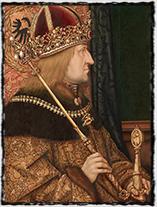 Císař Fridrich III. Habsburský, strýc a poručník Ladislava Pohrobka a pozdější souputník Jiříka z Poděbrad. Obraz z r. 1468 je dílem Hanse Burgkmaira st.