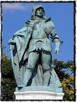 Pomník krále Matyáše Korvína v Budapešti.