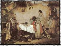 Setkání králů Jiříka z Poděbrad a Matyáše Korvína v r. 1469 (obraz od Mikoláše Aleše z r. 1878; autor na něm mistrně zachytil faktickou i morální převahu husitského krále v onom roce).