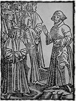 Petr Chelčický v učené rozpravě s pražskými univerzitními mistry (anonymní dílo z 15. či 16. st.).