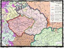 Český stát za vlády krále Vladislava (barevně jsou odlišeny oblasti, v nichž až do r. 1490 vládl Matyáš Korvín).