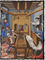 Francouzská tiskárna kolem r. 1500. (zdroj: Wikipedie).