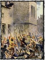 Svržení konšelů z Novoměstské radnice 30. července 1419 - obraz A. Liebschera
