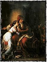 Královna vdova Alžběta Bosenská se svou dcerou Marií ve společném vězení (autor Soma Orlai Petrich, 19. století).