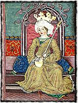 Královna Marie, první manželka Zikmunda Lucemburského (vyobrazení z Chronica Hungarorum).