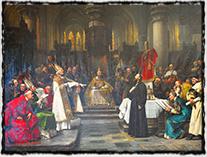 Jan Hus před koncilem kostnickým; v pozadí sedí Zikmund (Václav Brožík, r. 1883)