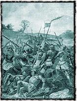 Bitva u Sudoměře byla prvním velkým vítězstvím husitů nad domácími nepřáteli a předzvěstí, že Zikmunda nečeká lehký boj s údajnými kacíři (obraz Ferdinanda Hetteše).